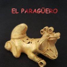 Art: RARO COLGANTE JAGUAR ANTROPOMORFO PRECOLOMBINO QUIMBAYA DE ORO TUMBAGA PESO 32 GRAMOS-P10. Lote 208649037