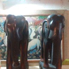 Art: PAREJA DE TALLA DE MADERA AFRICANOS DE GRANDES DIMENSIONES ELEFANTES. Lote 208871110