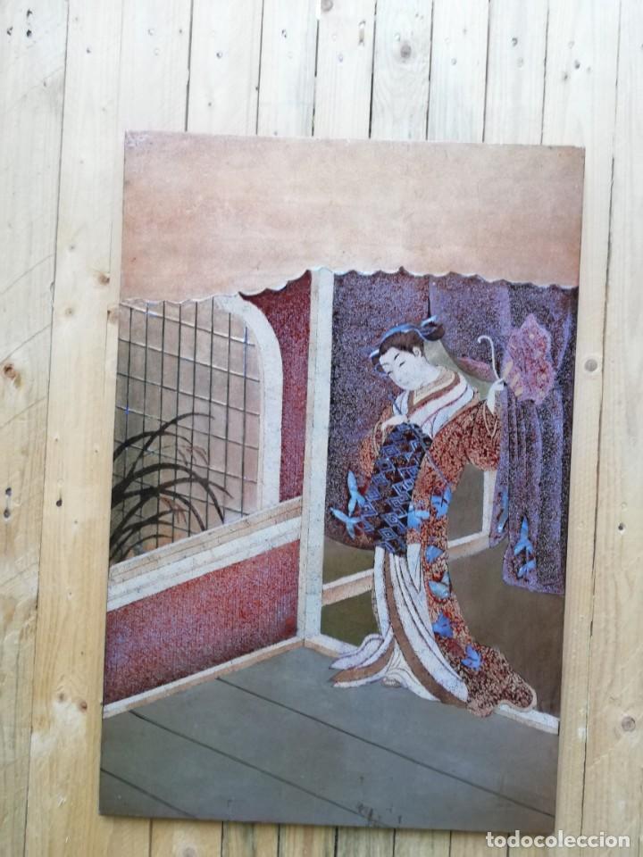 CUADRO PLAFON GHEISA EN LACA JAPONESA CASCARA DE HUEVO (Arte - Étnico - Asia)