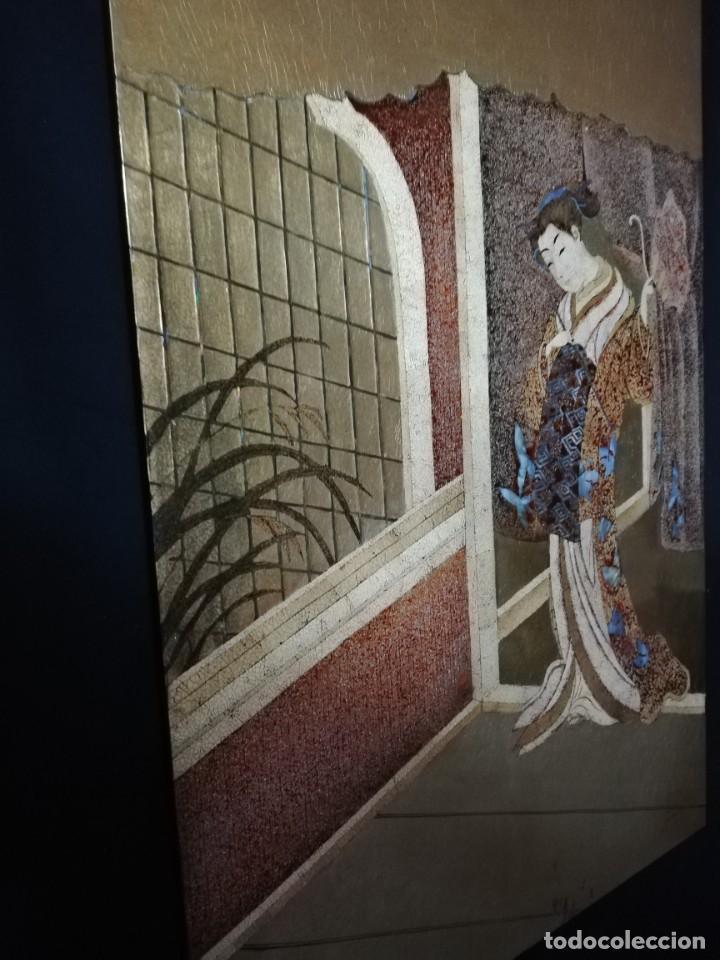 Arte: CUADRO PLAFON GHEISA EN LACA JAPONESA CASCARA DE HUEVO - Foto 3 - 209067590