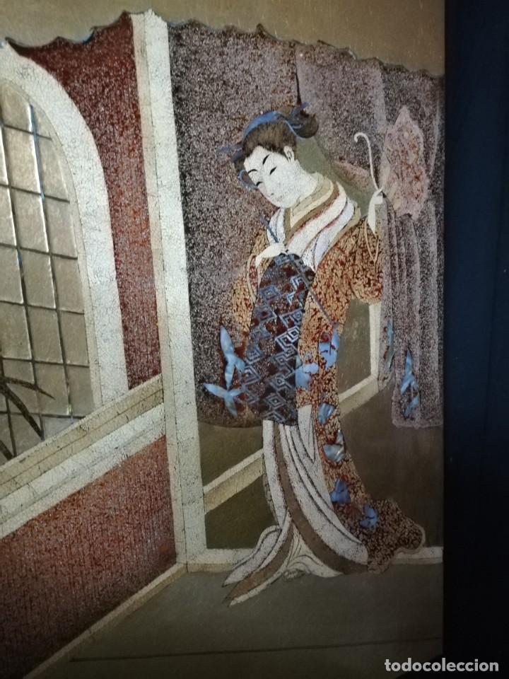 Arte: CUADRO PLAFON GHEISA EN LACA JAPONESA CASCARA DE HUEVO - Foto 4 - 209067590