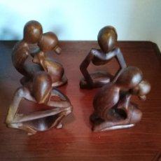 Arte: LOTE DE 4 FIGURAS DE MADERA ÉTNICAS AFRICANAS. Lote 209368600