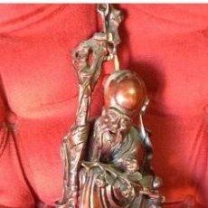 Arte: ESCULTURA TALLA MADERA ANTIGUA . . 41 CM ALTO. . ANCIANO SABIO Y NIÑO , CHINA. Lote 210545507