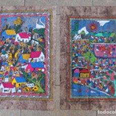 Arte: 2 PAPIROS PINTADOS MEJICANOS DE 39CM X 59CM PARA ENMARCAR.. Lote 210964436