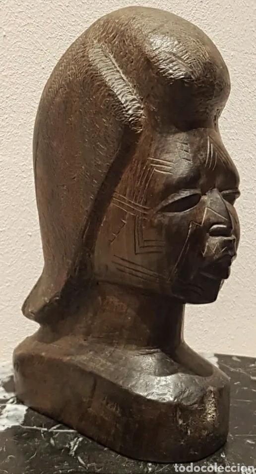 Arte: Escultura busto mujer en Ébano del Grupo Étnico Makonde Tanzania Siglo XIX o principios XX - Foto 2 - 211479066