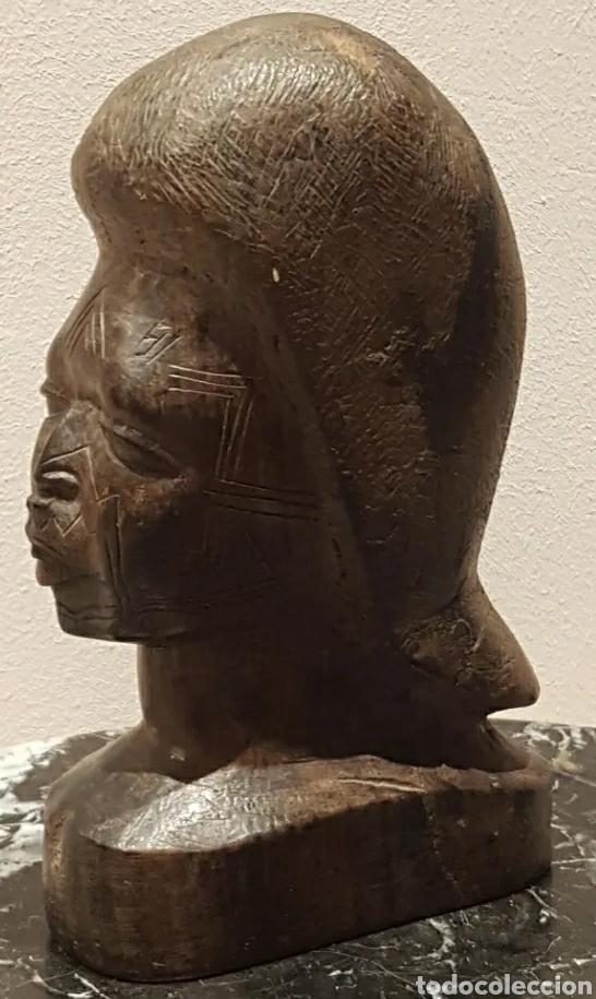 Arte: Escultura busto mujer en Ébano del Grupo Étnico Makonde Tanzania Siglo XIX o principios XX - Foto 3 - 211479066
