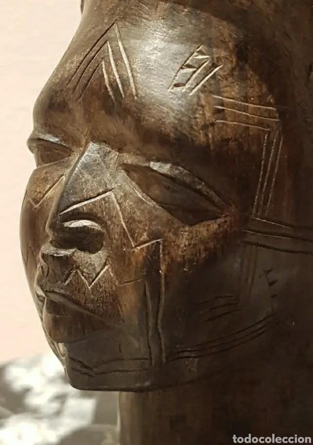 Arte: Escultura busto mujer en Ébano del Grupo Étnico Makonde Tanzania Siglo XIX o principios XX - Foto 6 - 211479066