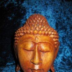 Arte: CABEZA BUSTO BUDA BUDHA BHUDA MADERA TALLADA. Lote 211809261