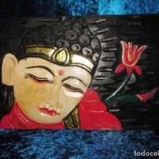 Arte: CUADRO TALLA MADERA BUDA BHUDA BUDHA Y FLOR ARTESANAL. Lote 211810223