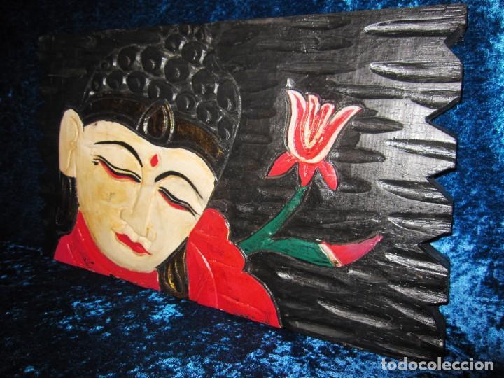 Arte: Cuadro talla madera Buda Bhuda Budha y flor artesanal - Foto 2 - 211810223