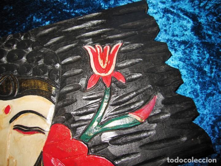 Arte: Cuadro talla madera Buda Bhuda Budha y flor artesanal - Foto 3 - 211810223