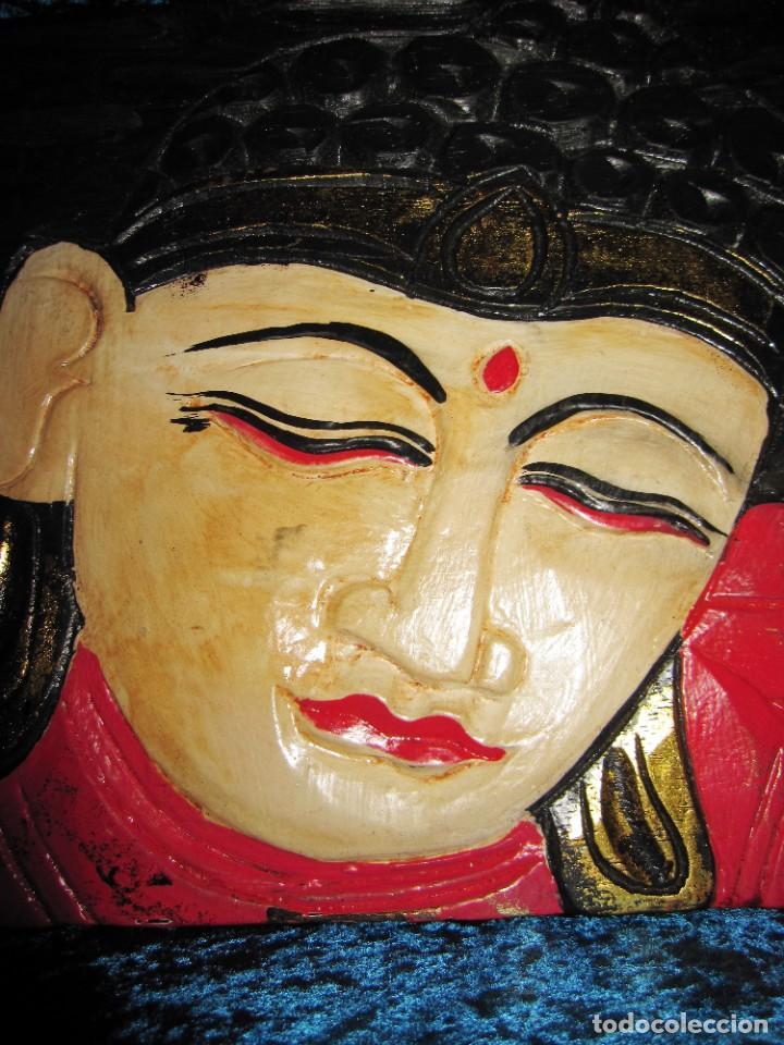 Arte: Cuadro talla madera Buda Bhuda Budha y flor artesanal - Foto 4 - 211810223