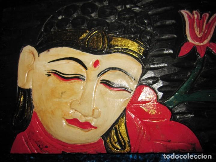 Arte: Cuadro talla madera Buda Bhuda Budha y flor artesanal - Foto 5 - 211810223