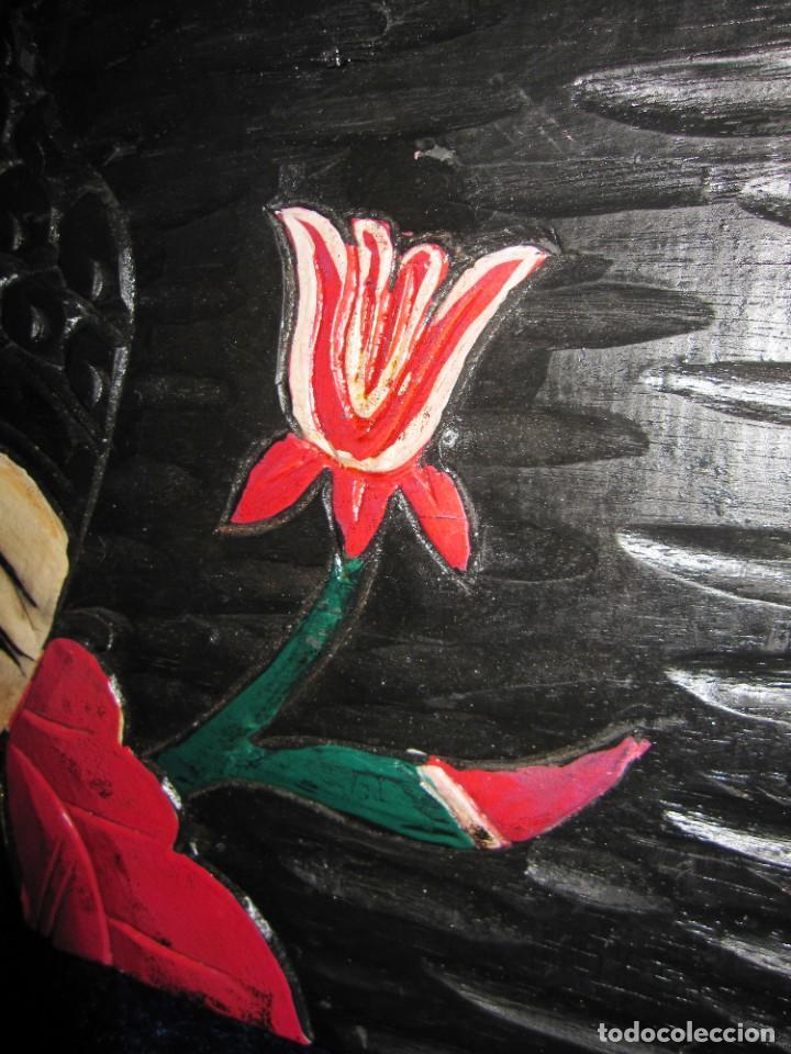 Arte: Cuadro talla madera Buda Bhuda Budha y flor artesanal - Foto 6 - 211810223