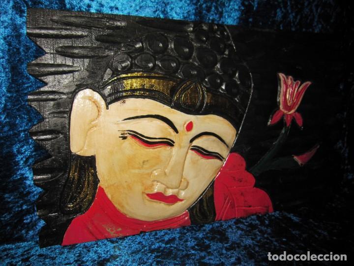 Arte: Cuadro talla madera Buda Bhuda Budha y flor artesanal - Foto 7 - 211810223