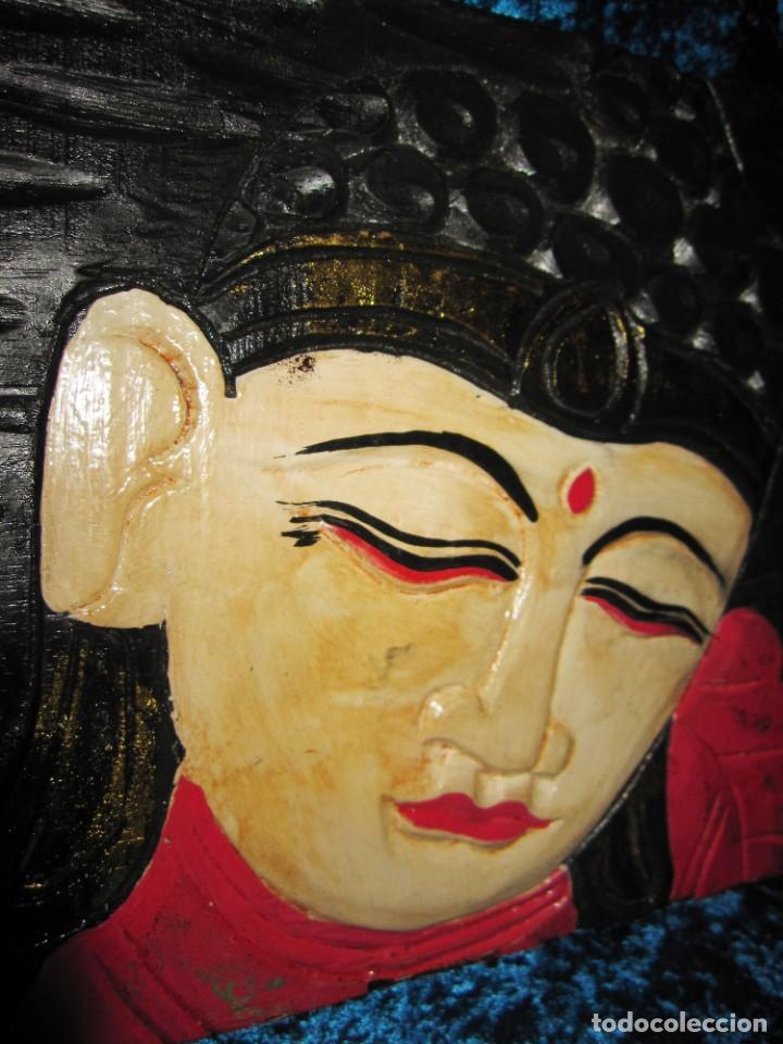 Arte: Cuadro talla madera Buda Bhuda Budha y flor artesanal - Foto 8 - 211810223