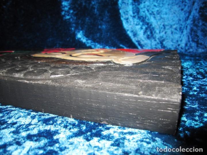 Arte: Cuadro talla madera Buda Bhuda Budha y flor artesanal - Foto 9 - 211810223