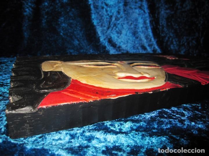 Arte: Cuadro talla madera Buda Bhuda Budha y flor artesanal - Foto 11 - 211810223