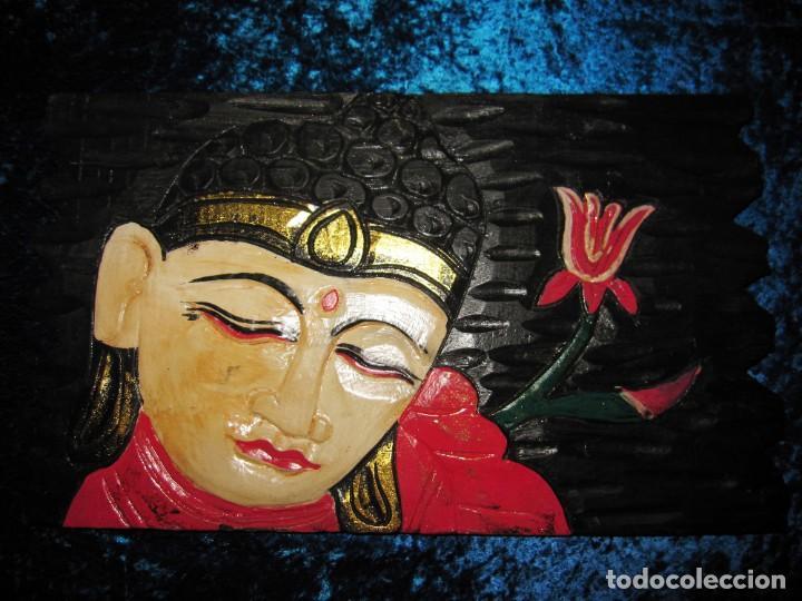 Arte: Cuadro talla madera Buda Bhuda Budha y flor artesanal - Foto 12 - 211810223