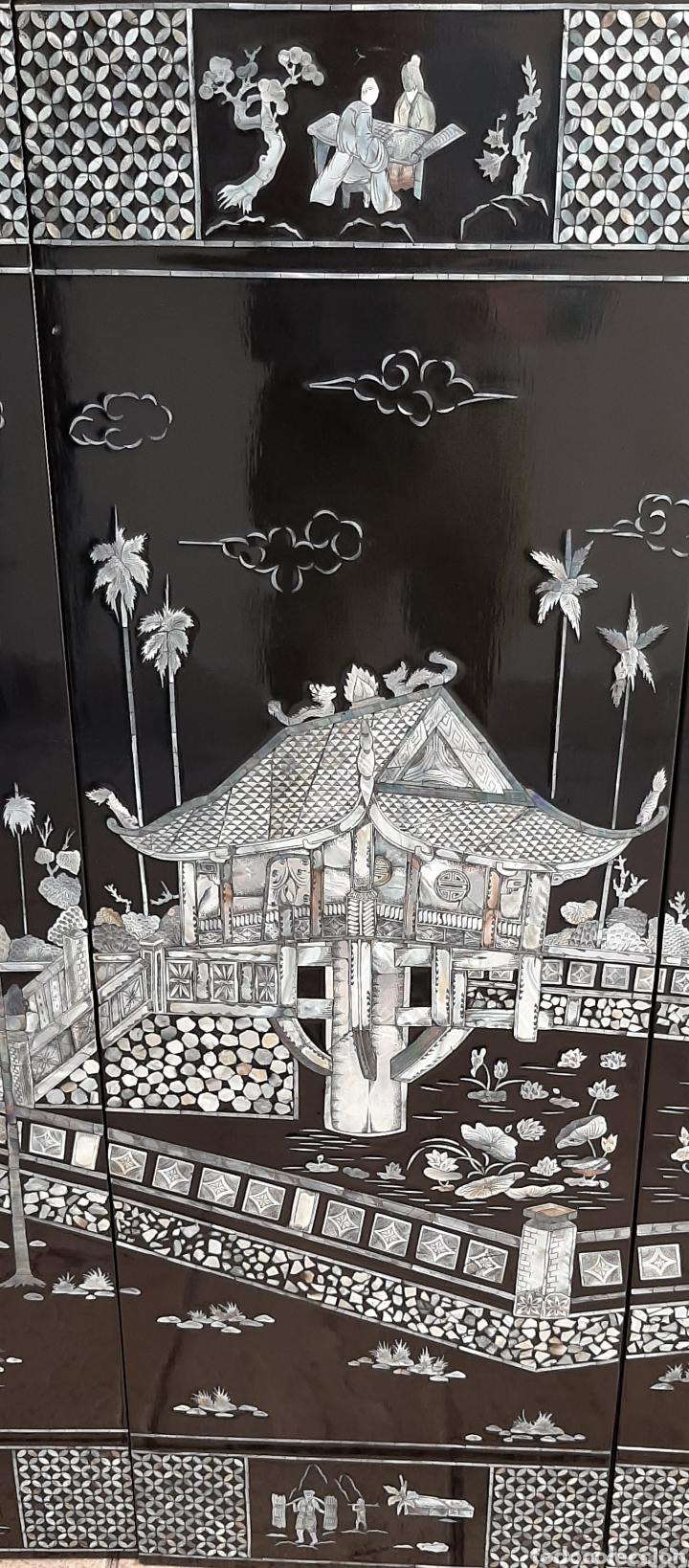 Arte: PAISAJE CHINO. 4 PANELES DE MADERA LACADA Y NÁCAR. - Foto 4 - 211910605