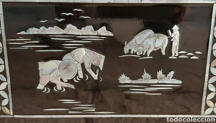 Arte: PAISAJE CHINO. 4 PANELES DE MADERA LACADA Y NÁCAR. - Foto 14 - 211910605