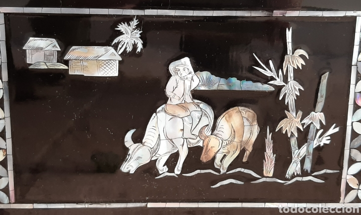 Arte: PAISAJE CHINO. 4 PANELES DE MADERA LACADA Y NÁCAR. - Foto 15 - 211910605