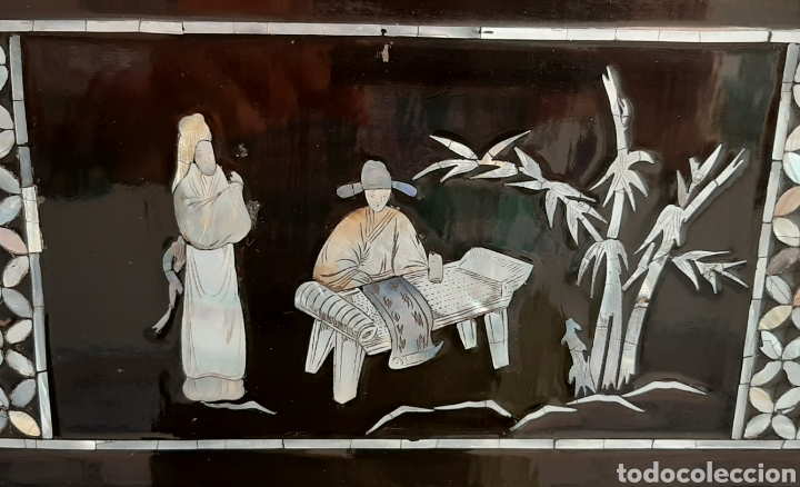 Arte: PAISAJE CHINO. 4 PANELES DE MADERA LACADA Y NÁCAR. - Foto 16 - 211910605
