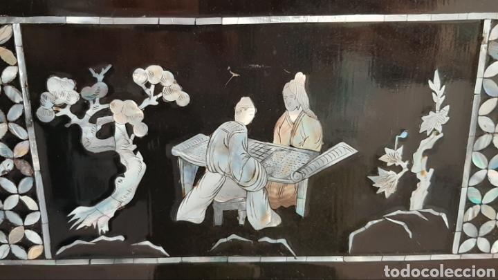 Arte: PAISAJE CHINO. 4 PANELES DE MADERA LACADA Y NÁCAR. - Foto 20 - 211910605