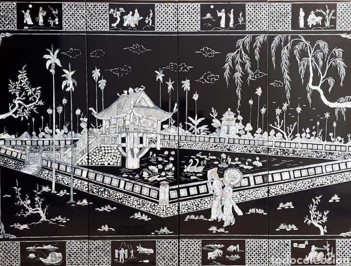 PAISAJE CHINO. 4 PANELES DE MADERA LACADA Y NÁCAR. (Arte - Étnico - Asia)