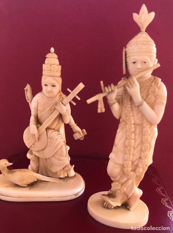 Arte: Soberbia pareja antigua, de músicos en marfil, o hueso. Pps de S.XX. - Foto 4 - 212258436