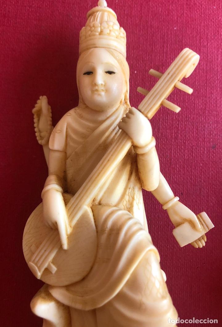 Arte: Soberbia pareja antigua, de músicos en marfil, o hueso. Pps de S.XX. - Foto 6 - 212258436