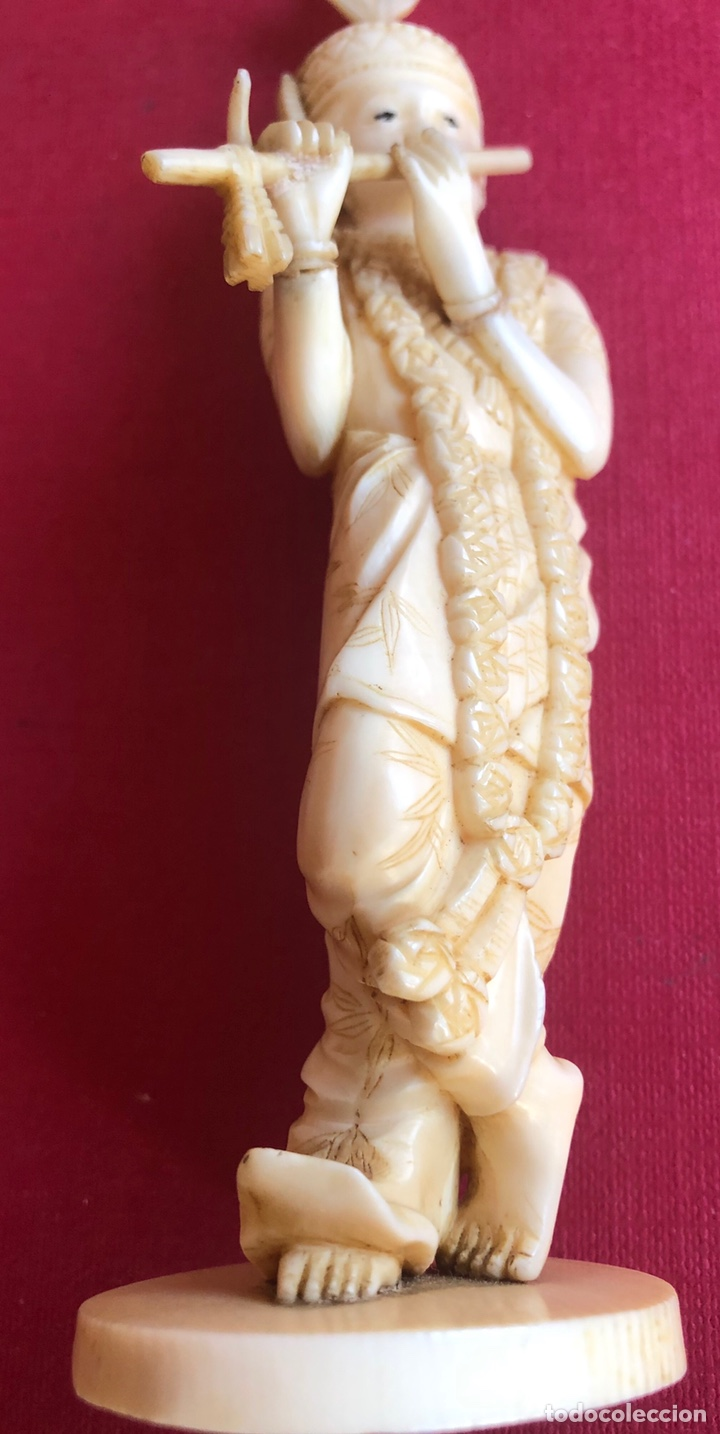 Arte: Soberbia pareja antigua, de músicos en marfil, o hueso. Pps de S.XX. - Foto 11 - 212258436