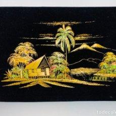 Arte: ELABORADA COMPOSICIÓN PAISAJE RURAL. FIBRAS NATURALES BORDADAS SOBRE TERCIOPELO. INDONESIA. AÑOS 70.. Lote 212481657