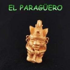 Arte: VALE PARA COLGANTE - HOMBRE AVE FLAUTISTA PRECOLOMBINO QUIMBAYA DE ORO TUMBAGA PESO 35 GRAMOS -T21. Lote 224463373