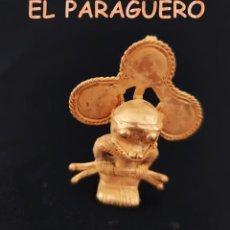 Arte: VALE PARA COLGANTE CHAMAN ANTROPOMORFO DE QUIMBAYA DE ORO TUMBAGA PESO 31 GRAM-T47. Lote 212942847