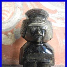 Arte: FIGURA AZTECA EN PIEDRA OBSIDIANA NEGRA. Lote 212990462