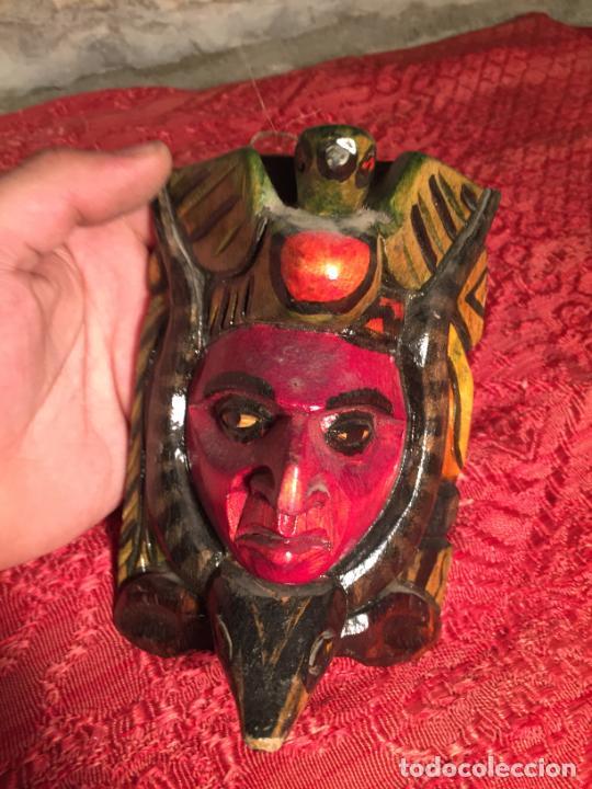 Arte: Antigua mascara de madera etnica Africana o Azteca años 80-90 - Foto 4 - 213114626