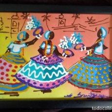 Arte: ARTE AFRICANO / TÉCNICA MIXTA S. LIENZO / *TRES MUJERES NATIVAS DANZANDO*.FDO.: BANTREGE. ENMARCADO.. Lote 214551723