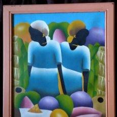 Arte: ARTE AFRICANO / ÓLEO S. TELA / * DOS MUJERES NATIVAS *. FIRMADO; C F. B. ENMARCADO.. Lote 214552600