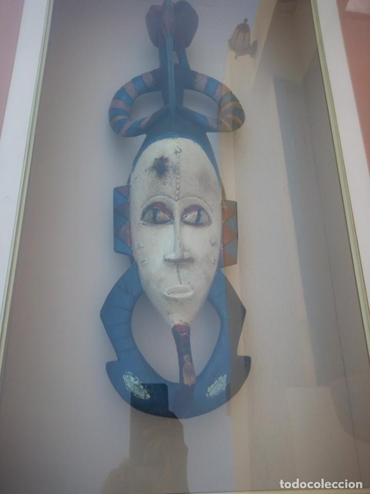Arte: Extraordinario y antiguo cuadro máscara fang de jefe de tribu en 3d en el interior del cuadro. - Foto 3 - 215838852