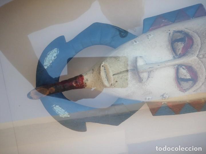 Arte: Extraordinario y antiguo cuadro máscara fang de jefe de tribu en 3d en el interior del cuadro. - Foto 7 - 215838852