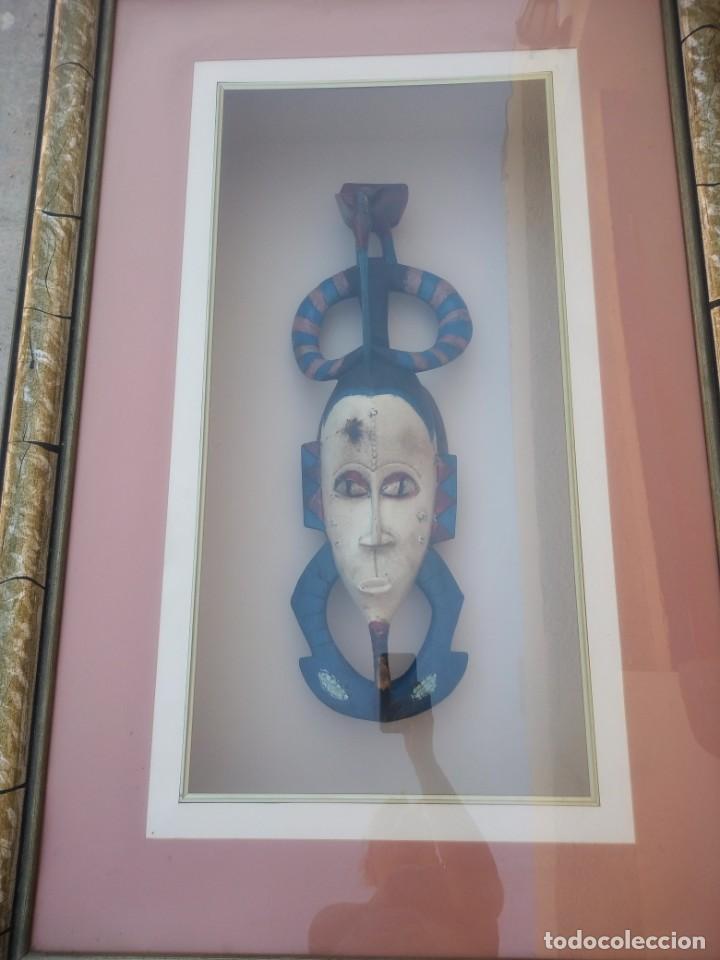 Arte: Extraordinario y antiguo cuadro máscara fang de jefe de tribu en 3d en el interior del cuadro. - Foto 12 - 215838852