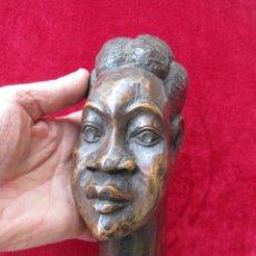 Arte: BUSTOS AFRICANO FIRMADO EN MADERA NOBLE ARTESANÍA POPULAR. Lote 215974605