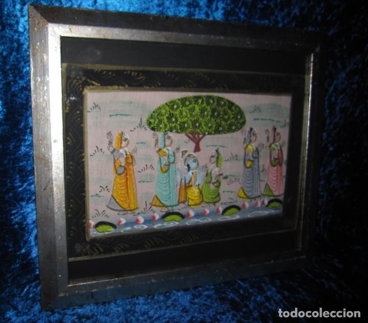 CUADRO MARCO PLATEADO PINTURA HINDÚ INDIA SOBRE SEDA (Arte - Étnico - Asia)