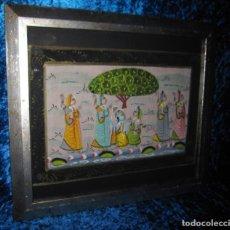 Arte: CUADRO MARCO PLATEADO PINTURA HINDÚ INDIA SOBRE SEDA. Lote 216452965