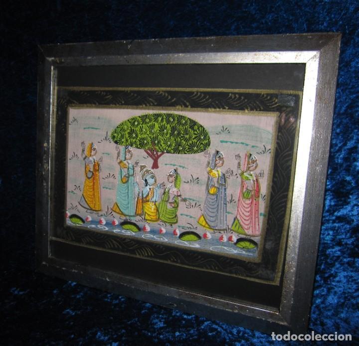Arte: Cuadro marco plateado pintura hindú India sobre seda - Foto 2 - 216452965