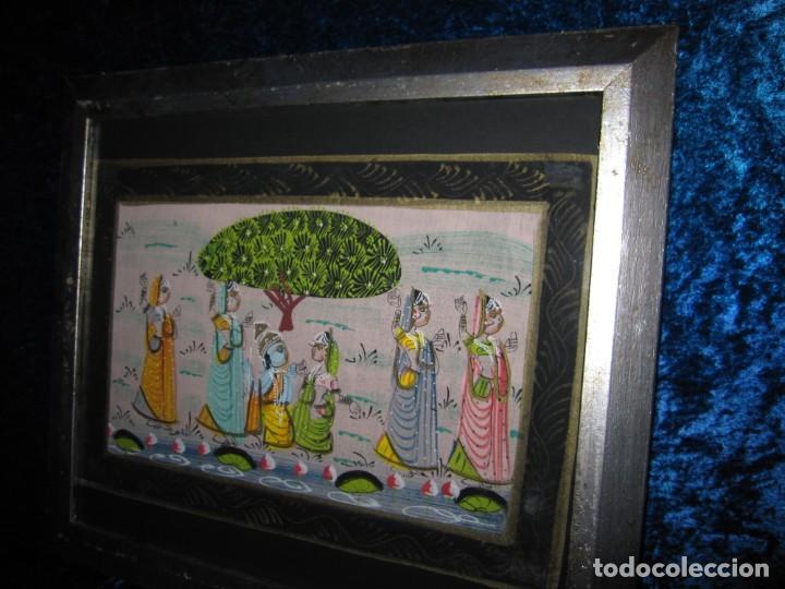 Arte: Cuadro marco plateado pintura hindú India sobre seda - Foto 3 - 216452965