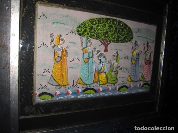 Arte: Cuadro marco plateado pintura hindú India sobre seda - Foto 4 - 216452965