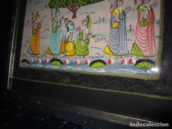 Arte: Cuadro marco plateado pintura hindú India sobre seda - Foto 9 - 216452965