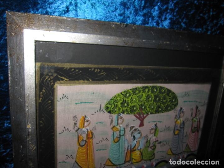 Arte: Cuadro marco plateado pintura hindú India sobre seda - Foto 10 - 216452965